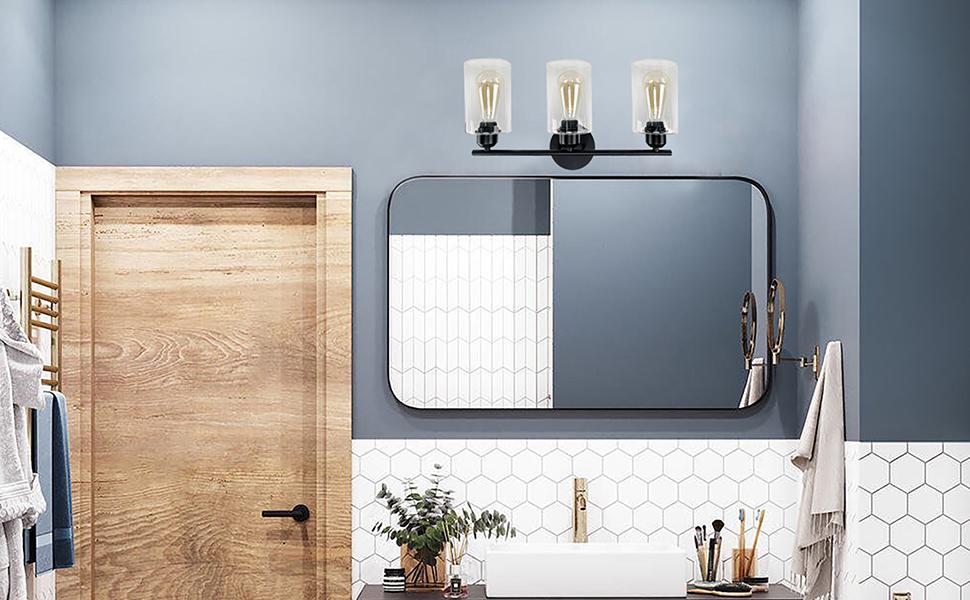 3 light bathroom vanity light black