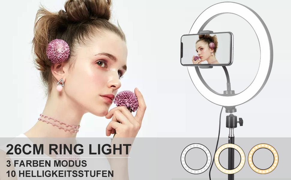 Covacure Ringlicht Mit Stativ Und Fernbedienung 26cm Kamera