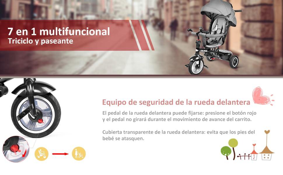 besrey 7 en 1 Triciclos Bebes reclinable con Asiento Giratorio, Triciclo para Bebe Nino evolutivo Infantil Trike Cochecito