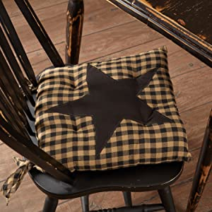 Black Star Chair Pad primitive country rustic Americana VHC Brands kitchen tabletop placemat runner