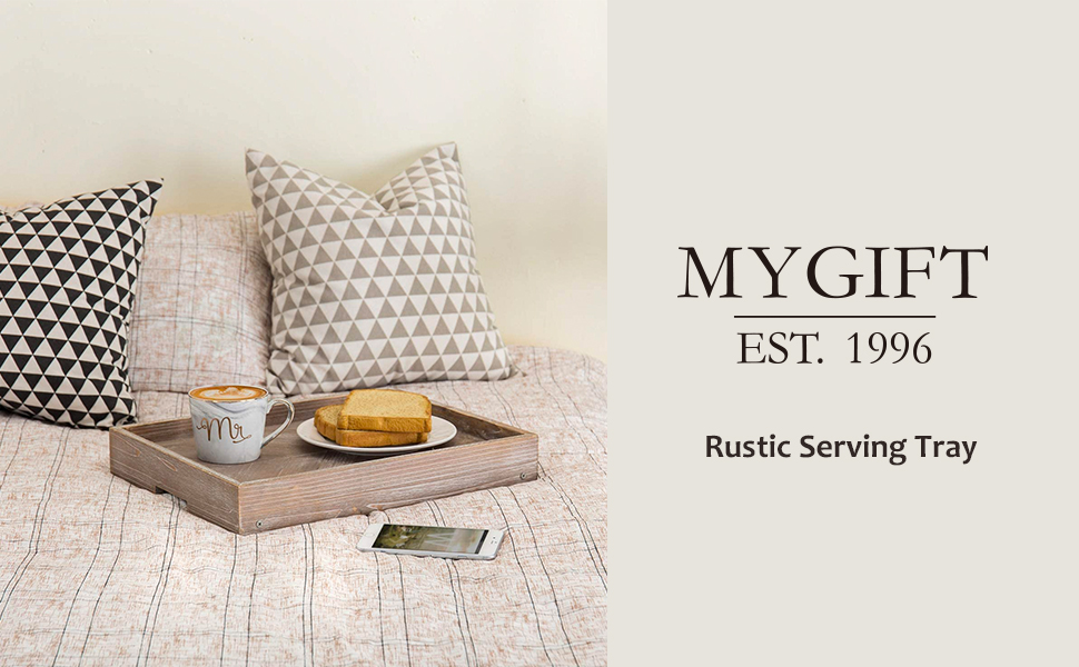 MyGift Vintage Graywashed Wood Breakfast Tray w/Foldable Legs