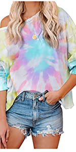 Tie Dye Printed Long Sleeve Sweatshirt Women Round Neck Off Shoulder Loose Pullover Tops Shirts