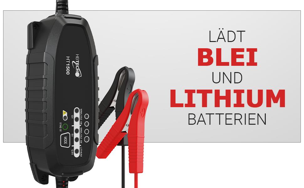 Lädt Blei und Lithium Batterien