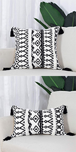 boho pillow cover tassels cute neutral gray white black
