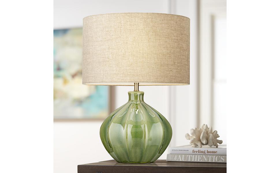 Gordy Green Ribbed Ceramic Table Lamp