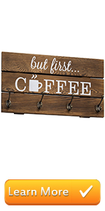 8-Hook Rustic Dark Brown Wood But First Coffee Sign and Mug Holder