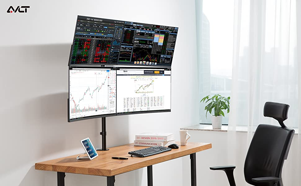 AVLT-Power Quad Monitor Mount Stand supports weight up to 17.6 lbs for each arm. Easily lift