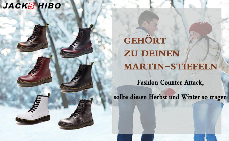 JACKSHIBO Winterstiefe Damen Herren Klassischer Leder Knöchel Stiefel Boots Winter Warme Gefüttert Stiefeletten Schneestiefel