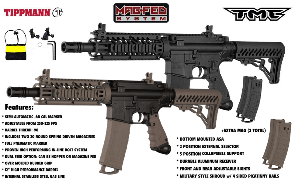 Tippmann TMC MAGFED Titanium Paintball Gun Package - Black/Tan
