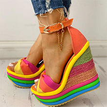 orange yellow wedge sandals