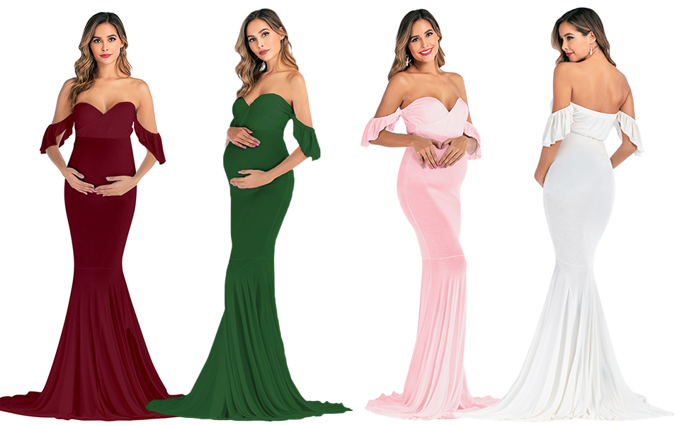 ruffle maternity gowns
