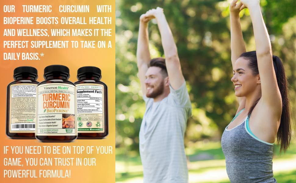 Turmeric Curcumin Curcuminoids Bioperine Woman Man Sport Supplement Vimerson Health