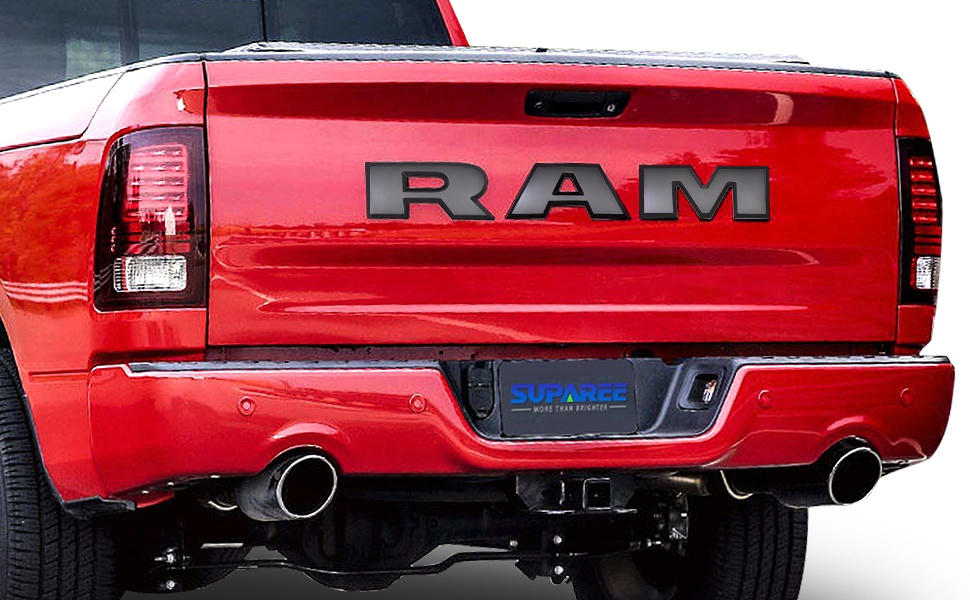Carbon Fiber SUPAREE RAM Tailgate Letters Insert 3D Raised High Grade ABS Plastic Badge Nameplates Sticker