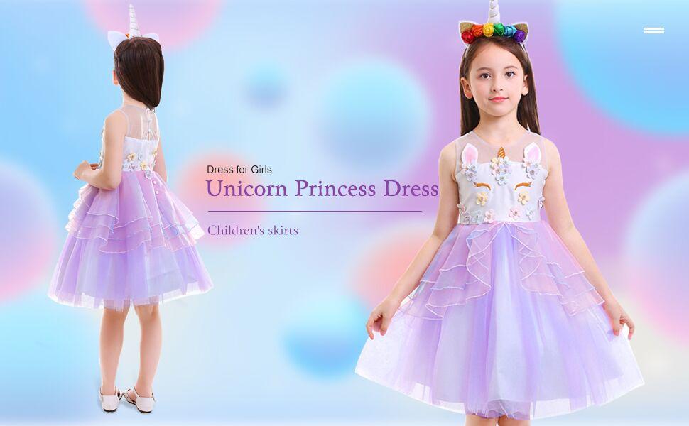 38b6b50c36 Kids Girls Unicorn Costume Cosplay Party Fancy Dress Up Princess Ruffled  Tulle Tutu Skirt Outfits Birthday Pageant Carnival Halloween Sleeveless ...