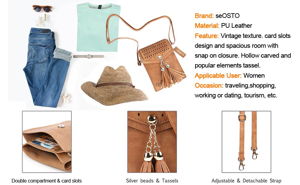 seOSTO Women Crossbody Bag, Cell Phone Purse Wallet Bags