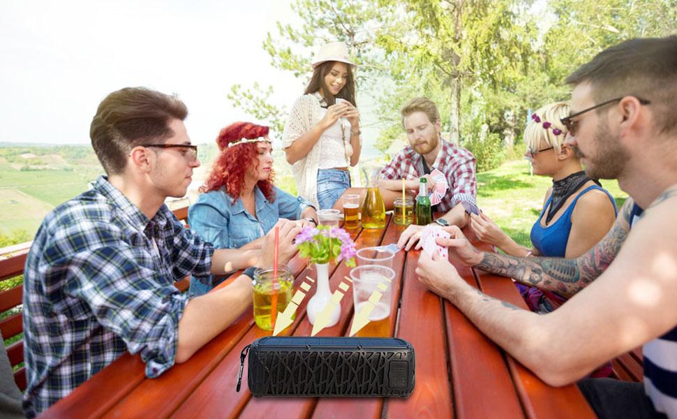 大图  ABFOCE Solar Bluetooth Speaker Portable Outdoor Bluetooth IPX6 Waterproof Speaker with 5000mAh Power Bank,60 Hours Play Time Dual Speaker with Mic, Stereo Sound with Bass Home Wireless Speaker-Black 075dd741 71e5 400d 8725 6ca9fab69ff7