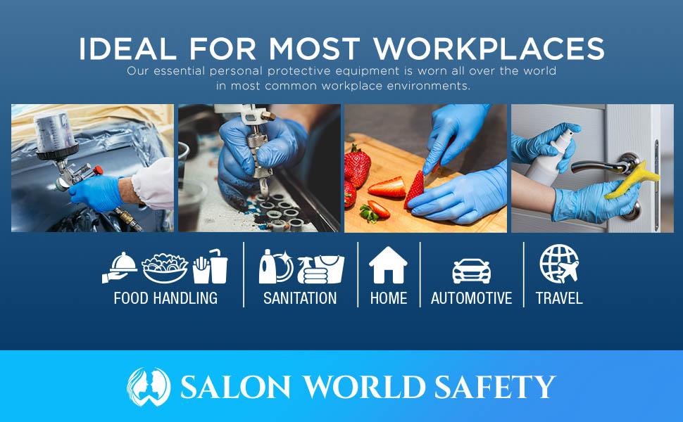 Salon World Safety Nitrile Powder Free Gloves, Industrial Grade, Disposable