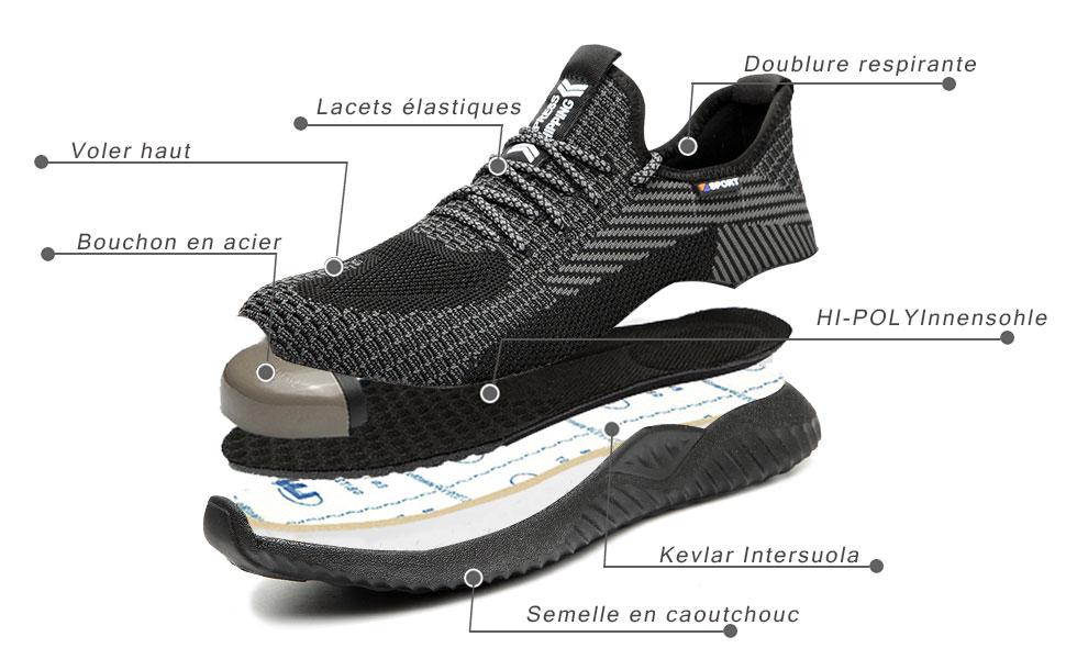 Mitudidi Chaussures de S/écurit/é Homme Basket de S/écurit/é Chaussures de Travail Femme Embout Acier Protection Chaussures pour Unisexes