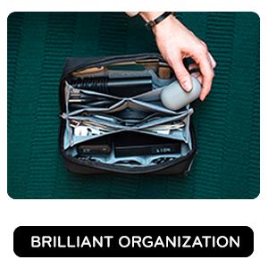 Brilliant organization, 21 soft, elastic pockets keep gear separated.