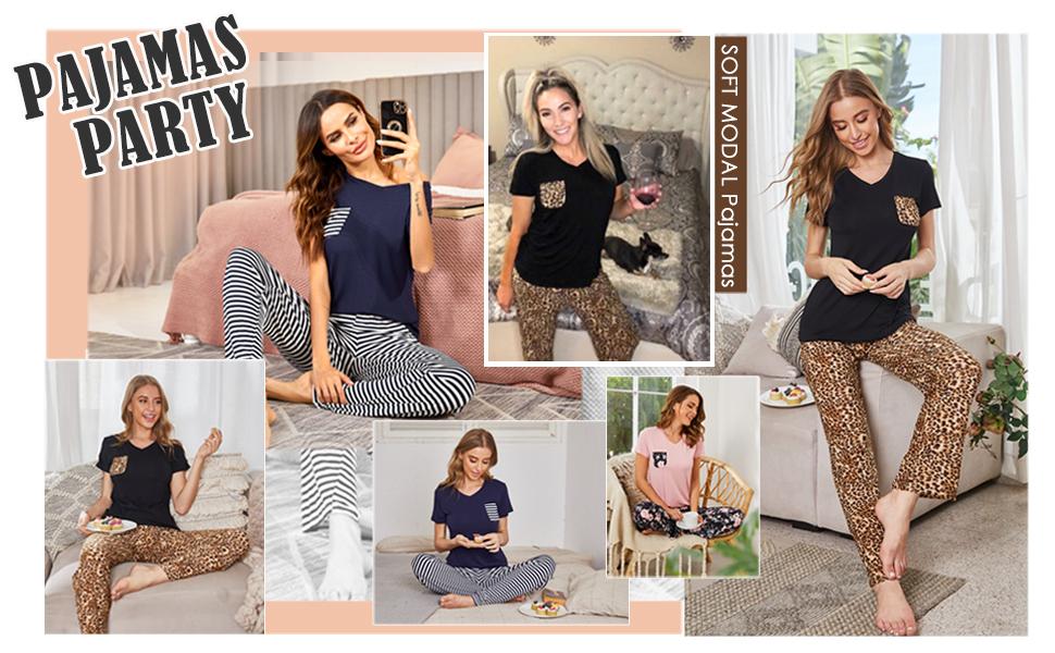 Pajama for womens pants set comfy soft cozy Lightweight Leopard sleep set 2 piece lounging sleepwear