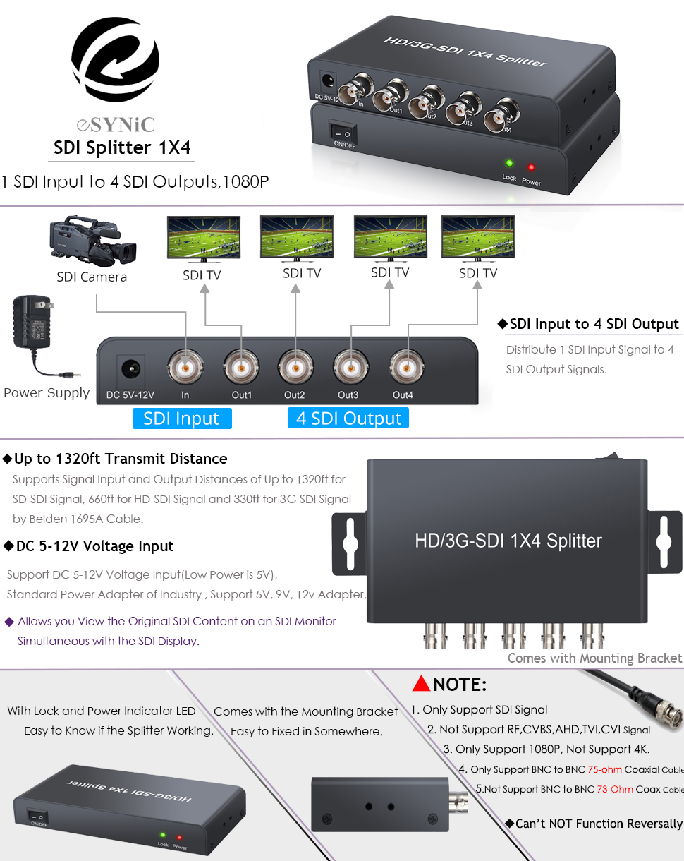 4Way SDI Splitter Repeater Full HD 1080P 1 In 4 Out Distribution With 3.5mm Jack