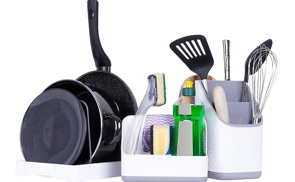 Cookenia Organiseur d'évier de cuisine pour ustensiles de cuisine