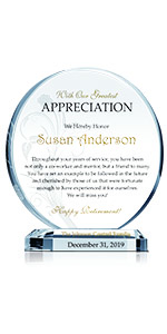 Personalized Crystal Employee and Coworker Retirement Appreciation Gift Plaque