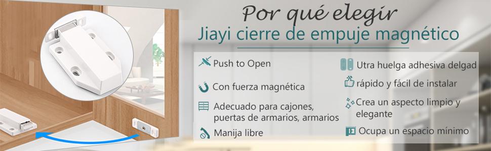Iman Cierre Push to Open Jiayi 4 Piezas Push Armarios Cierre Puerta Presion Magnetica Sistema Push para Puertas Pestillo Magnetico Amortiguador para Cocina Cajon Cerradore Mueble Cerrojo Cerradura: Amazon.es: Bricolaje y herramientas