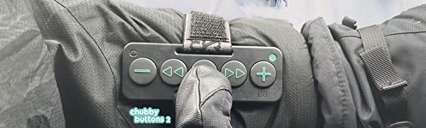 Wearable Bluetooth Remote for Action Sports.  Big buttons for gloves.  Works with all headphones.
