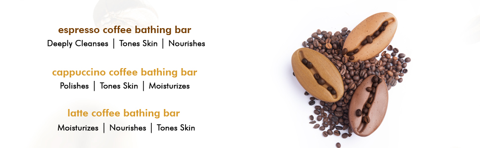 espresso cappuccino latte coffee bathing bar cleanses tones skin nourishes polishes moisturizes