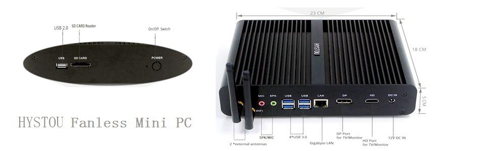 P05B Mini PC, Mini Computadora sin Ventilador con i7 6500U, Silencioso Escritorio Portátil con DDR4 RAM, 20 vatios, Pantalla Doble 4K, HDMI + DP, 5.8G ...