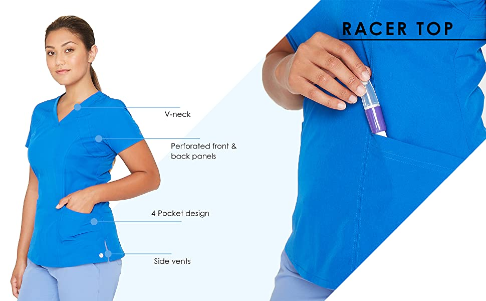 racer top infographic highlighting features of the product