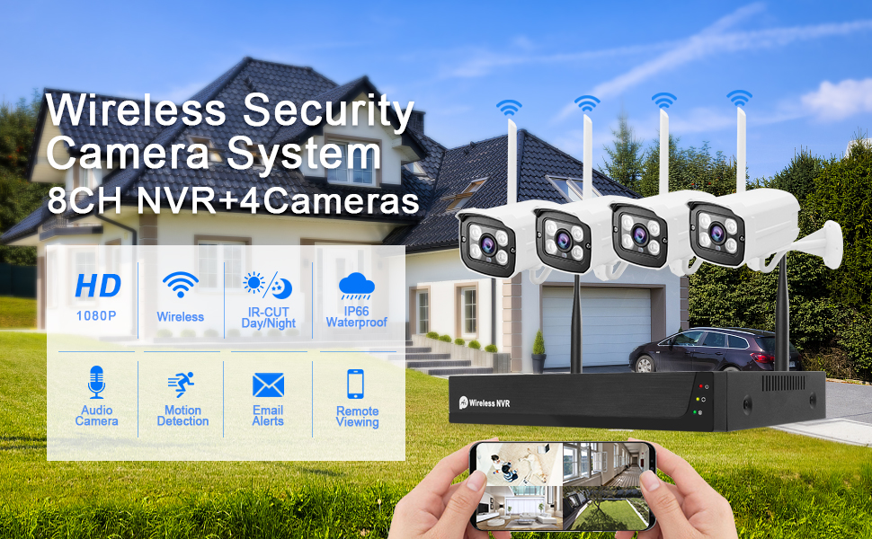 1080P 8CH NVR with 4Pcs Two-way audio Security WiFi IP Camera System(Compatible with Alexa)