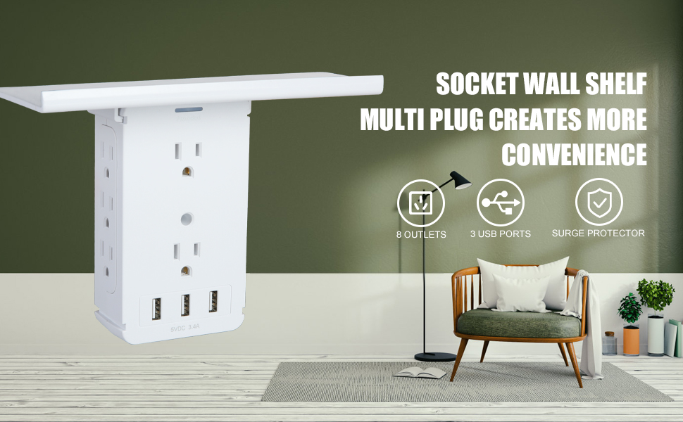 Wall Outlet Extender with 8 Outlet & 3 USB