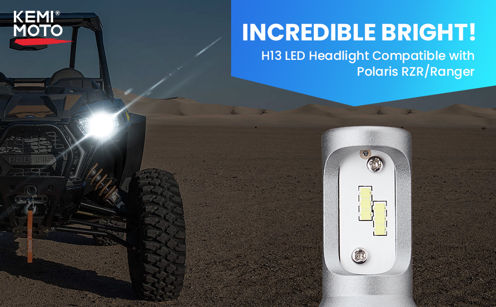 UTV Ranger RZR HeadLight Bulb  KEMIMOTO H13 LED Head Light Lamp Bulbs