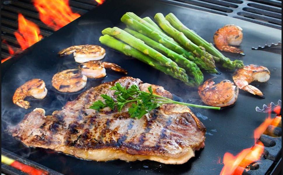 Tapis Teflon De Cuisson viande barbecue four feuilles réutilisable bbq mats grill