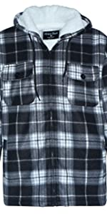flannel plaid hooded jackets hoodies men sherpa lined big tall plus size heavy full fleece warm soft