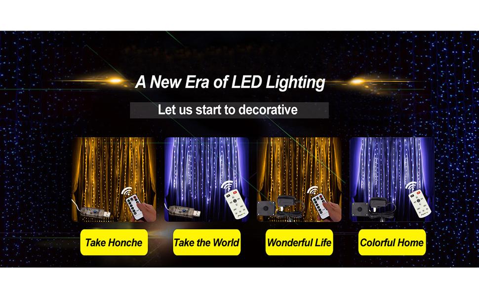 9.8ft x 9.8ft 300 LED Fairy Curtain Lights