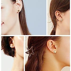 Assorted Multiple Stud Earrings Set for Women Teen Girls
