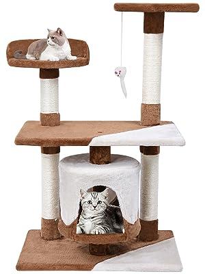 MC Star Árbol para Gato con Rascador de 95cm Arañazo Juguete de Gatos de Sisal Natural, Marrón y Beige: Amazon.es: Productos para mascotas