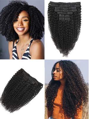 kinky curly clip in hair
