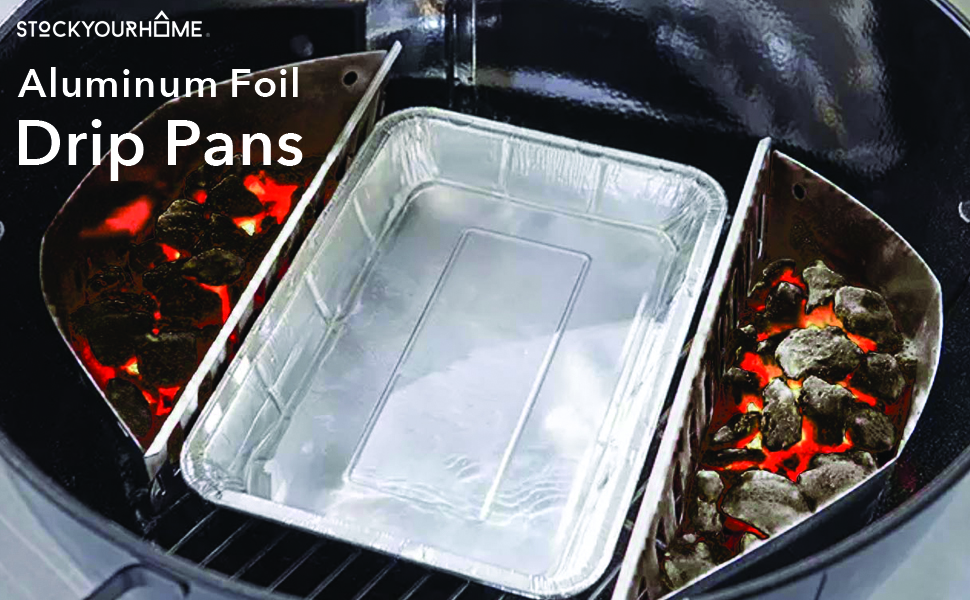 Aluminum Foil Drip Pans (25 Pack) Grill Compatible Drip Pans - Disposable Grease Catch Trays