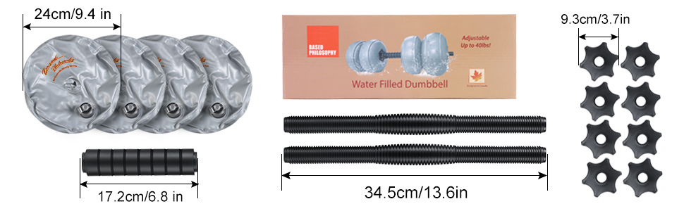 Water Filled Dumbbells Set Adjustable Dumbbells 20lb 40lb FreeWeights Dumbbells Set for Home Gray