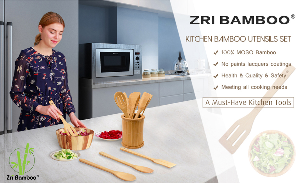 Kitchen cooking utensils set bamboo wooden spoons spatulas tongs non-stick cookware holder