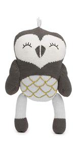 finn and emma, stuffed animal, organic baby toys, rattle buddy, plush, knit