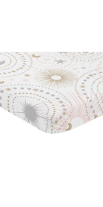 Blush Pink, Gold, Grey and White Star and Moon Baby Girl Fitted Mini Portable Crib Sheet Celestial