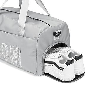 Compartiment à chaussures, fermeture à glissière, côté, sac de sport