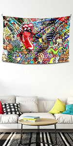 native american decor garttifi music sign  colorful street art image wall tapestry living room room