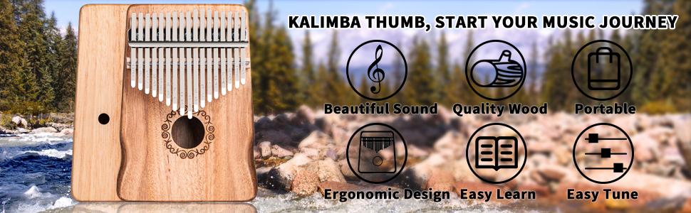 Portable Musical Instrument 17 Keys Kalimba