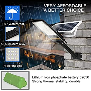 RuoKid 80W Solar Street Lights Outdoor Lamp 84 LEDs 1500lm IP67 Light with Anti